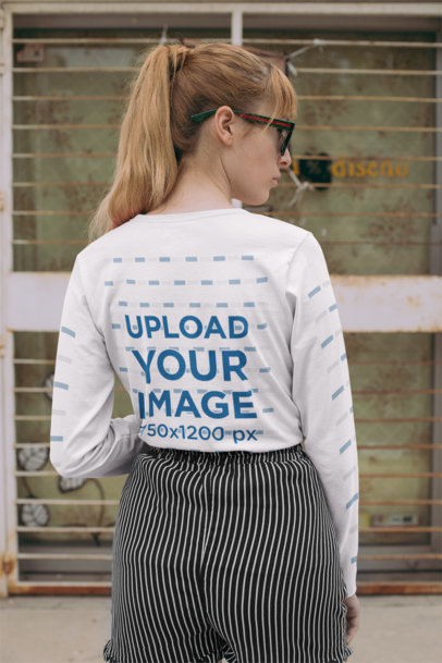 Back View Mockup of a Red-Haired Woman with a Long Sleeve T-Shirt 29053