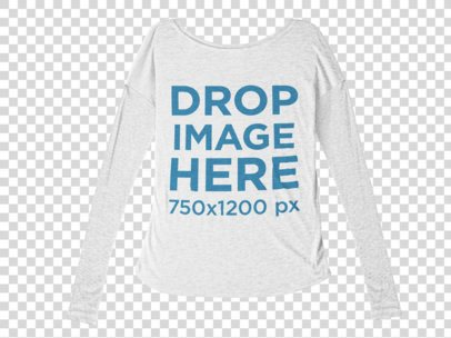 Bella Flowie Long Sleeve Tee Mockup Lying Against a Transparent Background a9810b