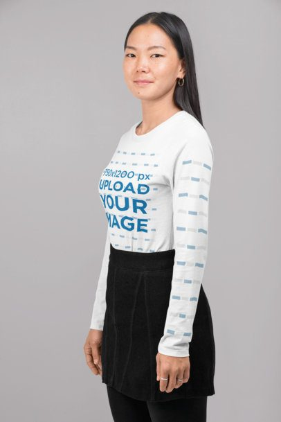 Long Sleeve Tee Mockup Featuring a Woman with Straight Hair at a Studio 29076
