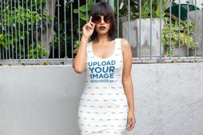 Racerback Dress Mockup Featuring a Woman Holding Her Sunglasses 28823