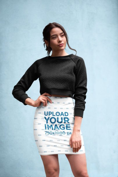 Pencil Skirt Mockup Featuring a Woman Posing Against a Textured Background 28664