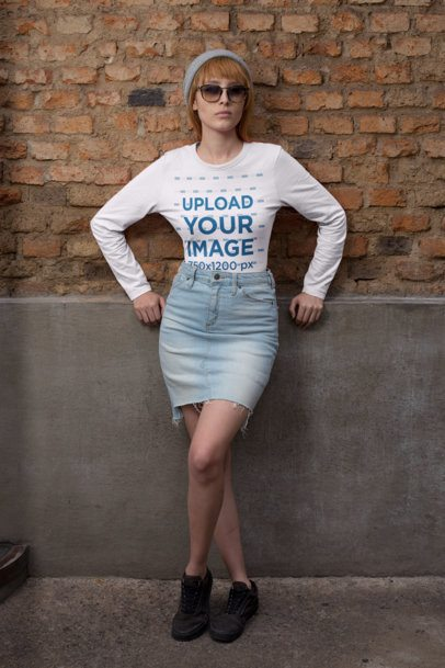 Long Sleeve Tee Mockup of a Woman Leaning Against a Brick Wall 29059
