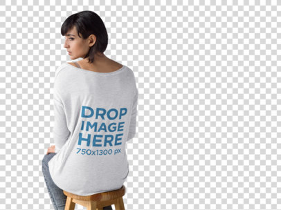 Back Mockup of a Woman Sitting on a Stool Wearing a Long Sleeved Tee b9751