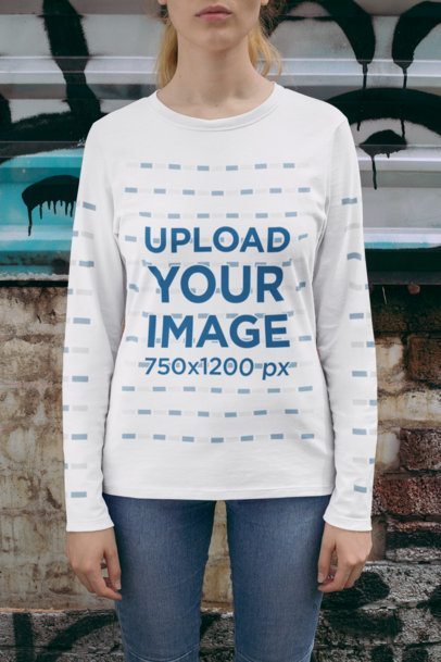 Cropped Face Long Sleeve Tee Mockup of a Woman 29064