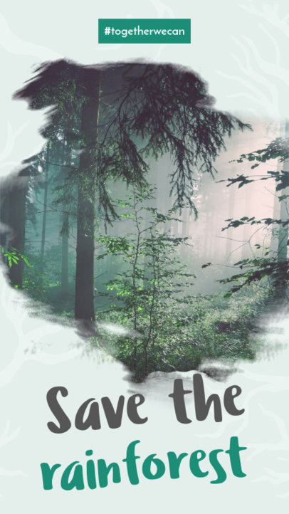 Instagram Story Template with a Save The Rainforest Awareness Theme 593j 1739