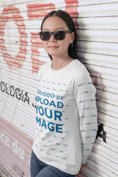 Mockup of a Woman with Sunglasses Wearing a Long Sleeve Tee 29067