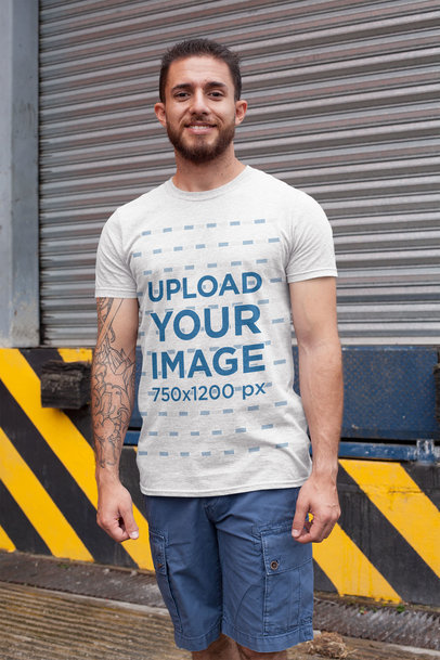 Heather Tee Mockup Featuring a Tattooed Bearded Man 28622