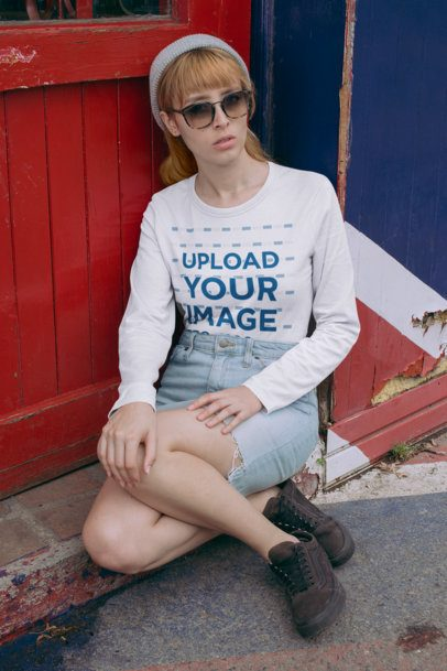 Mockup of a Woman Wearing a Long Sleeve Tee and a Beanie 29061
