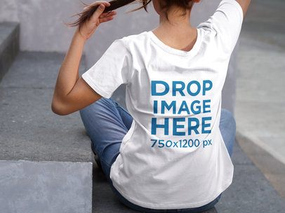 Asian Girl Wearing a T-Shirt Mockup from the Back  a9170b