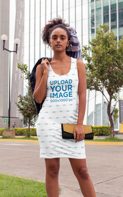 Racerback Dress Mockup of a Stylish Woman Posing in the City 28786
