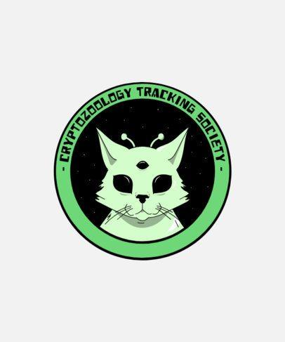 T-Shirt Design Template Featuring an Alien Cat 1717b