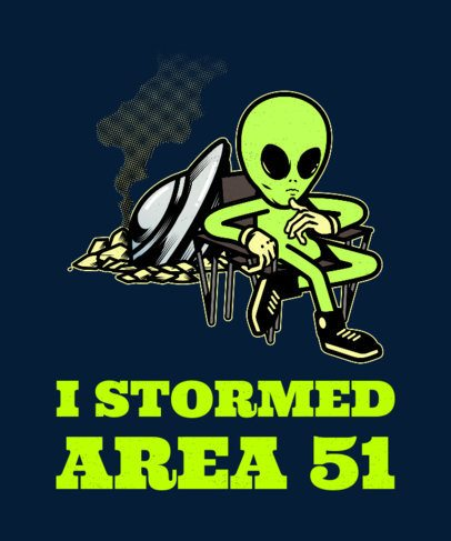 T-Shirt Design Generator of an Alien in Area 51 1716g