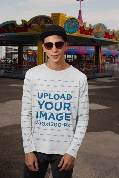 Long Sleeve Tee Mockup of a Man at a Carnival 29048