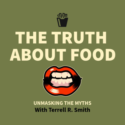 Podcast Cover Generator for a Show About Food Facts 1719c