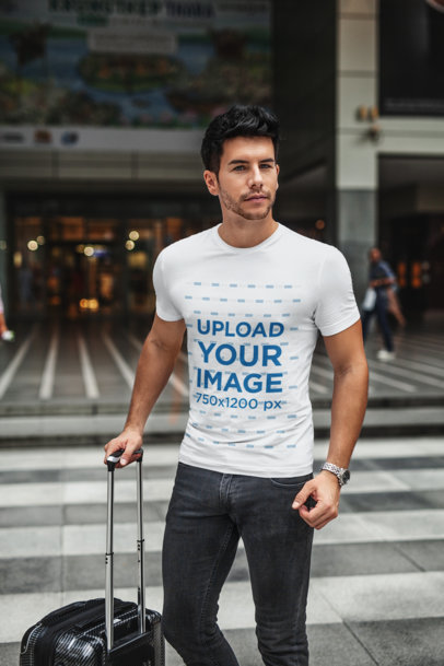 T-Shirt Mockup Featuring a Bearded Man With a Suitcase 437-el