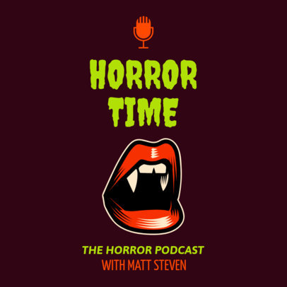 Horror-Themed Podcast Cover Maker Featuring a Mouth with Vampire Fangs 1719f