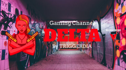 Fortnite-Styled YouTube Banner Template with a Female Shooter Clipart 1735i