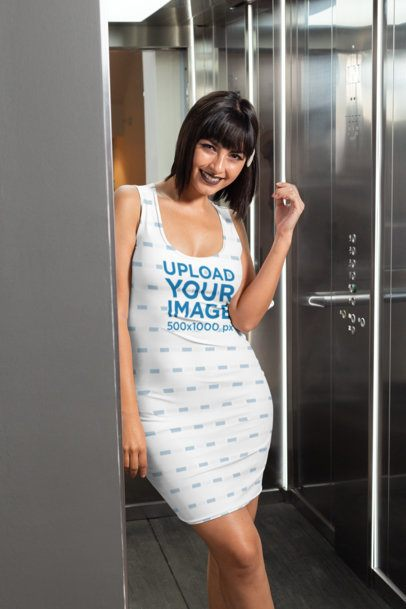 Racerback Dress Mockup of a Woman in an Elevator 28828