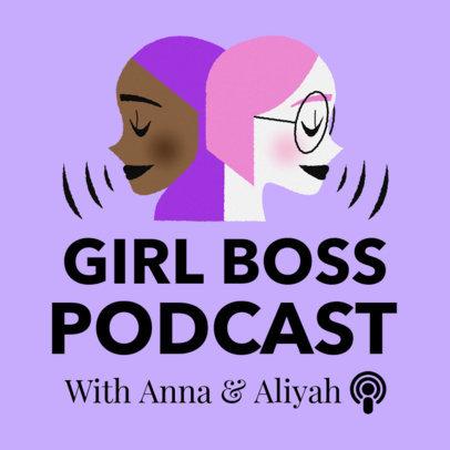 Modern Podcast Cover Template for Girl Bosses 1724c