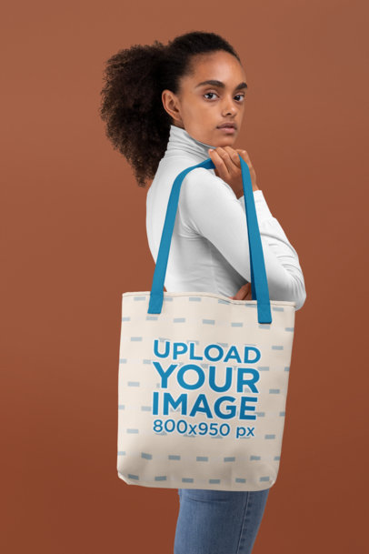 Tote Bag Mockup of a Woman Against a Customizable Background 28868