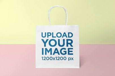 Gift Bag Mockup Featuring a Minimal Colored Background 652-el
