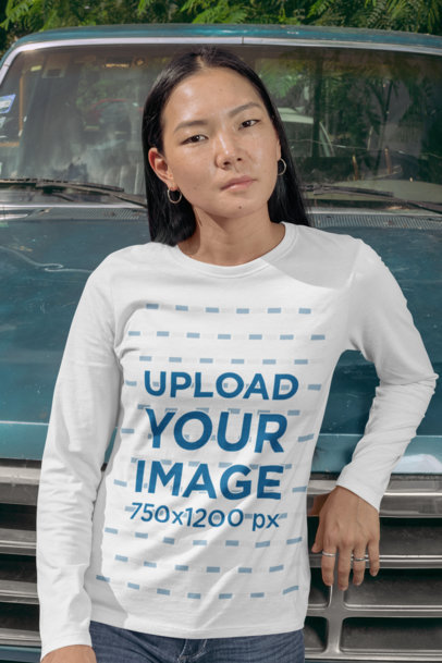 Long Sleeve Tee Mockup of a Woman Leaning Against an Old Car 29072