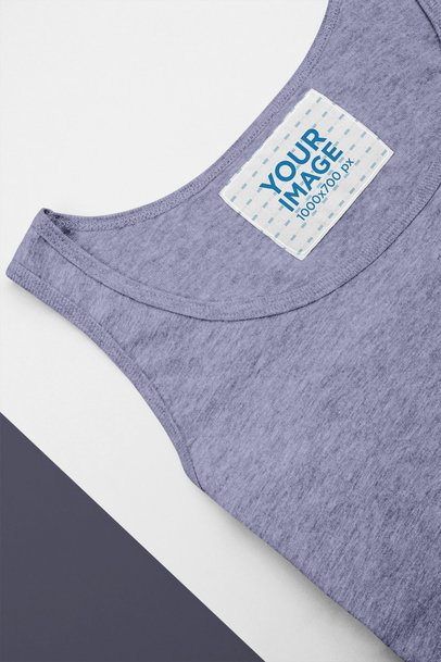 Mockup of a Clothing Label Inside a Heathered Tank Top 28990