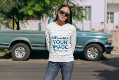 Mockup of a Woman with Sunglasses Wearing a Long Sleeve Tee 29073