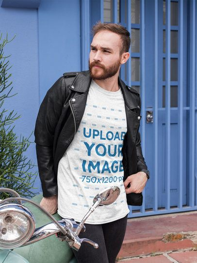Heather T-Shirt Mockup of a Bearded Man With a Leather Jacket 28733