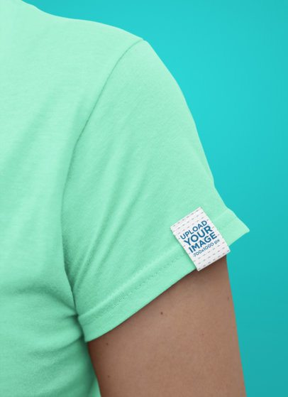 Minimal Mockup of a Clothing Label Attached to a Woman's T-Shirt 28978