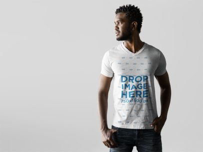 T-Shirt Mockup Featuring a Male Model in a Photoshoot a9835