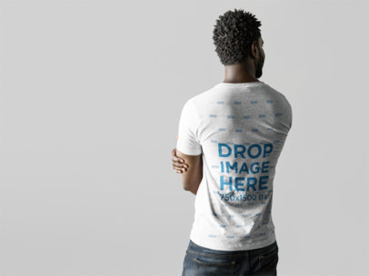 Back of a Black Man Wearing a Tshirt Mockup a9835b
