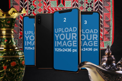 Mockup Featuring Three iPhones X in an Arabic Inspired Setting 667-el