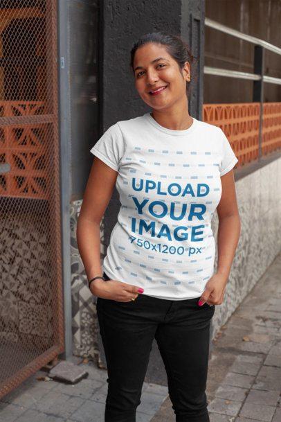 Crewneck T-Shirt Mockup of a Woman with a Hair Bun 28931