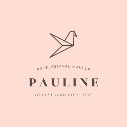 Logo Template Featuring an Origami Figure for a Makeup Studio 2213g-2477