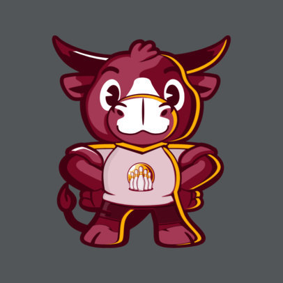 Bowling Team Mascot Template with a Friendly Bull 2381d