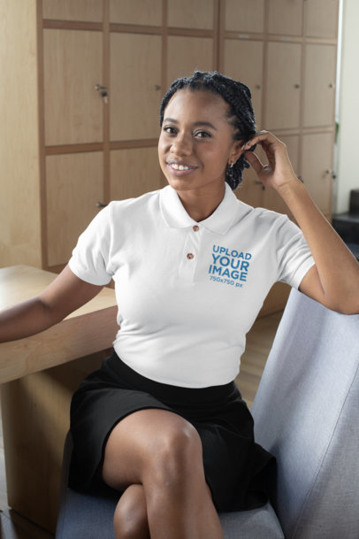 Mockup of a Woman Wearing a Polo Shirt and a Black Skirt 28876