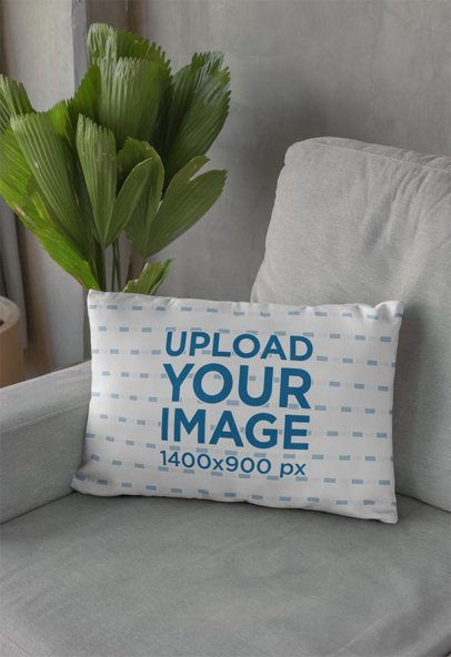 Pillow Mockup Featuring a Palm Plant 29009