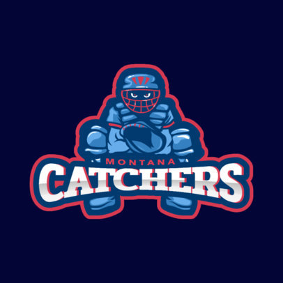 Baseball Logo Template Featuring a Catcher Illustration 172c 2469