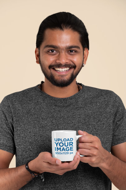 11oz Mug Mockup Featuring a Smiling Bearded Man with an Ear Piercing 29094