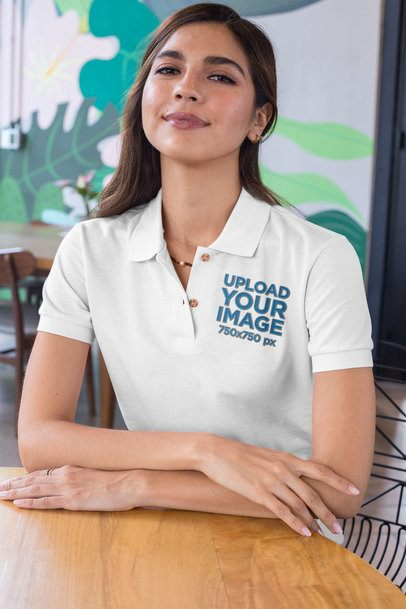 Polo Shirt Mockup of a Woman with Her Arms Crossed 28886