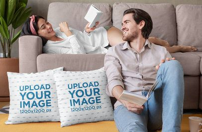 Mockup of a Couple Reading in the Couch with Two Pillows 29016