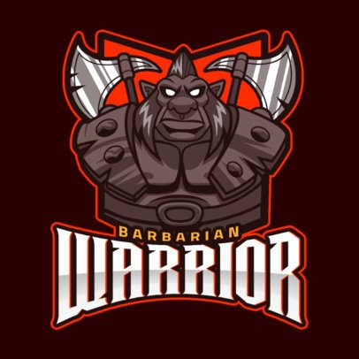 DOTA 2 Inspired Logo Template Featuring a Barbarian Warrior 2499ee