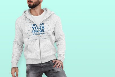 Full-Zip Hoodie Mockup of a Trendy Man Posing at a Studio 444-el