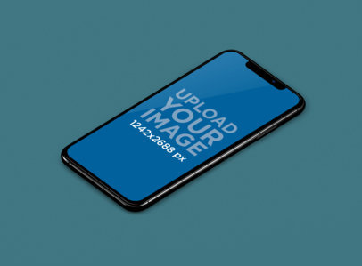 iPhone XS Max Mockup Featuring a Customizable Background 243-el