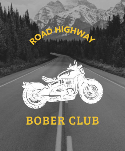 Biker T-Shirt Design Template With a Highway Picture 330a--1762