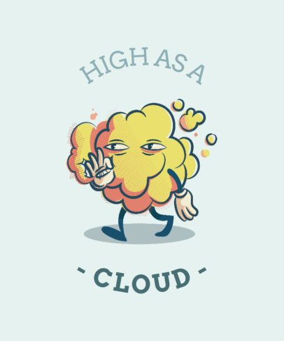 T-Shirt Design Template Featuring a Weed Smoke Cloud Character - 1411e