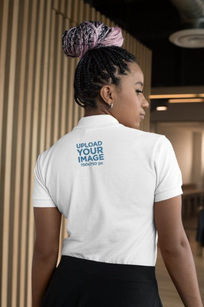 Polo Shirt Mockup of a Woman with a Hair Bun 28881