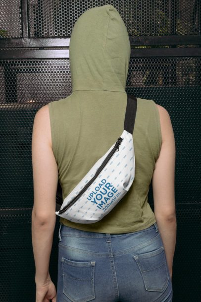 Back View Mockup of a Woman with a Fanny Pack Wrapped Around Her 29189