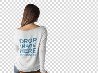 Back Shot of a Woman Wearing a Bella Canvas Long Sleeve Tee Mockup Sitting a9937b